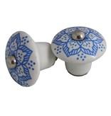 Knopje keramiek blauw