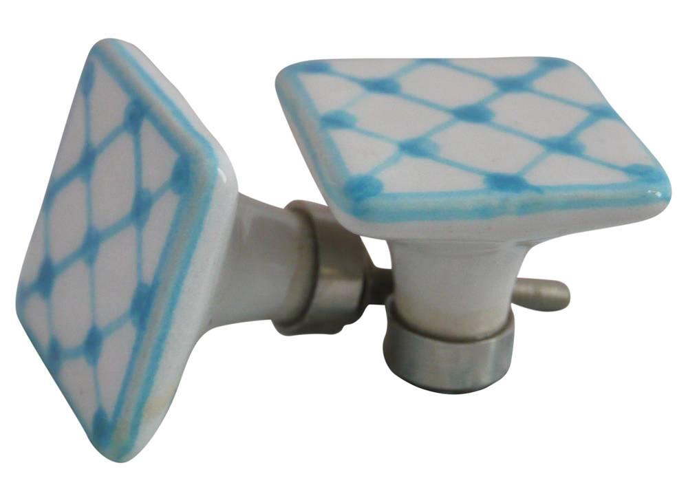 Deurknopje keramiek blauw