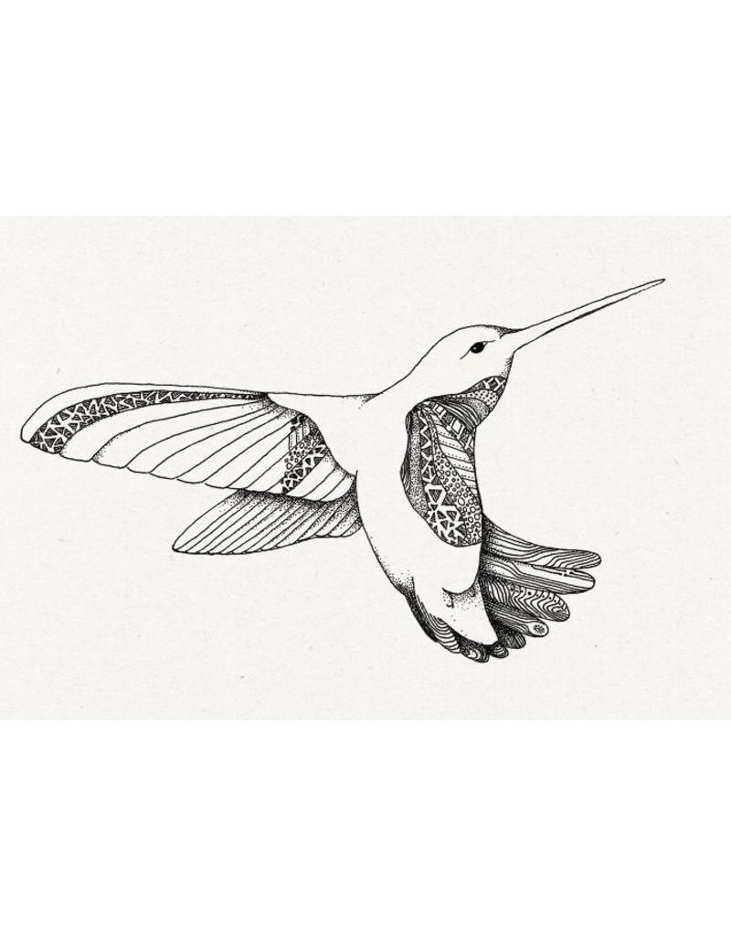 Tattoo kolibri zwart