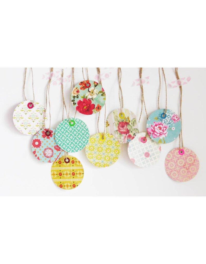 Set 10 cadeau tags bloem