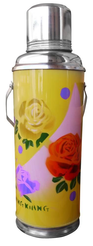 Thermoskan 1,2 liter geel rosas