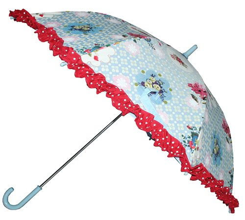 Paraplu blauw met bloemen
