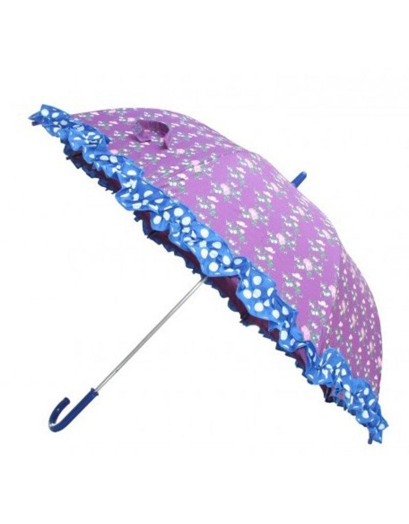 Paraplu paars met bloemen