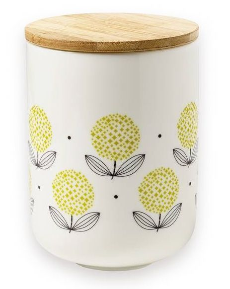 Porseleinen voorraadpot fleurs jaune