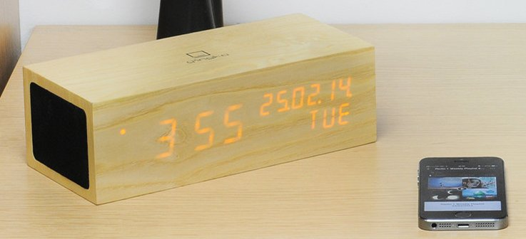 Music Click Clock met oranje led