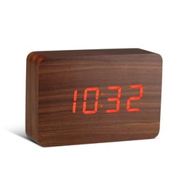 Ging-ko Click Clock Brick walnoot met rode led