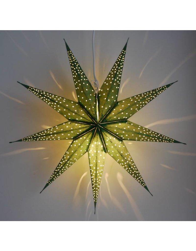 Kerstster sparkle green met lichtsnoer