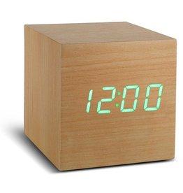 Ging-ko Click Clock cube beukenhout met groene led