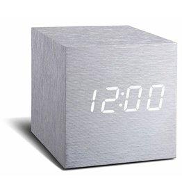 Ging-ko Click Clock cube aluminium met witte led
