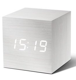 Ging-ko Click Clock cube wit met witte led