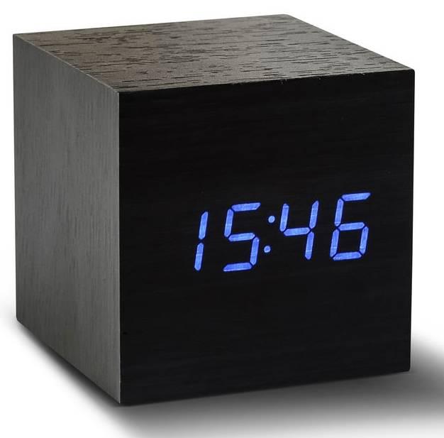 Click Clock cube zwart met blauwe led
