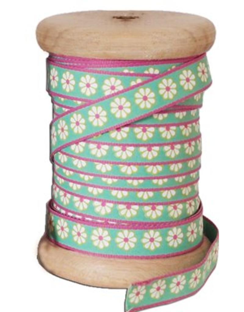 25 meter band lucy green op houten klos