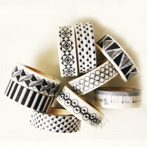 Masking tape zwarte hartjes horizontaal