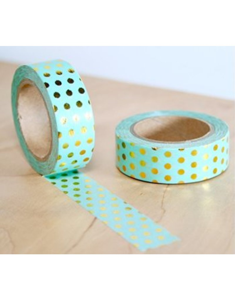 Masking tape mint dot gold