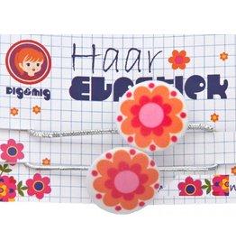 Dig&Mig Haar elastiekjes oranje bloem