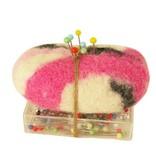 Speldenkussen roze met doosje spelden