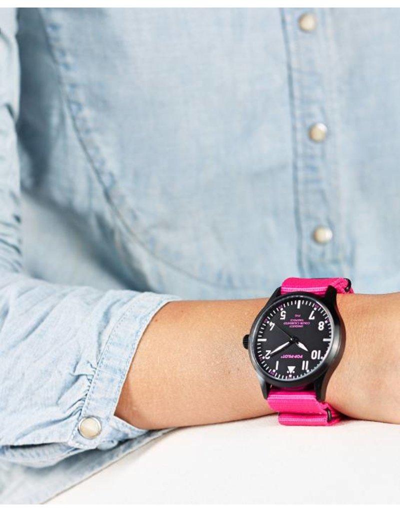 Horloge Pop Pilot neon pink
