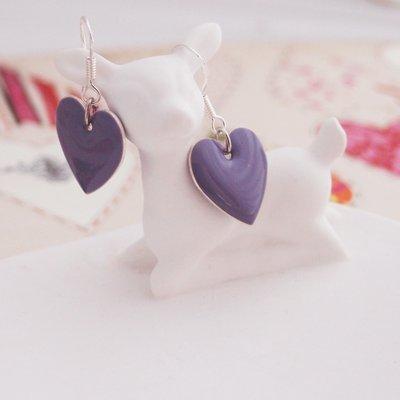 Oorbellen hartjes paars