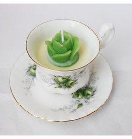 Antiek theekopje met kaars Royal Albert green rose