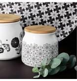 Porseleinen voorraadpot fleurs noir
