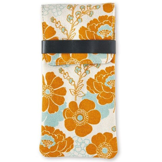 Brillenetui fleurs  orange