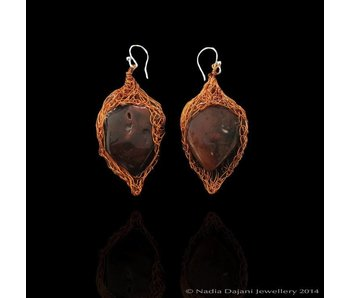 AGATE WRAP LEAF EARRINGS