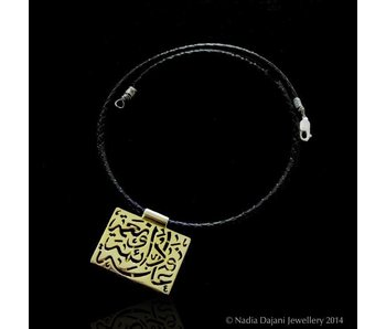 SLV GP NIMAH SQUARE ON LEATHER NECKLACE