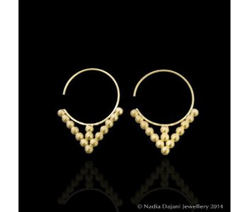 MATT GOLD HOOP EARRINGS WITH GOLD BEADS