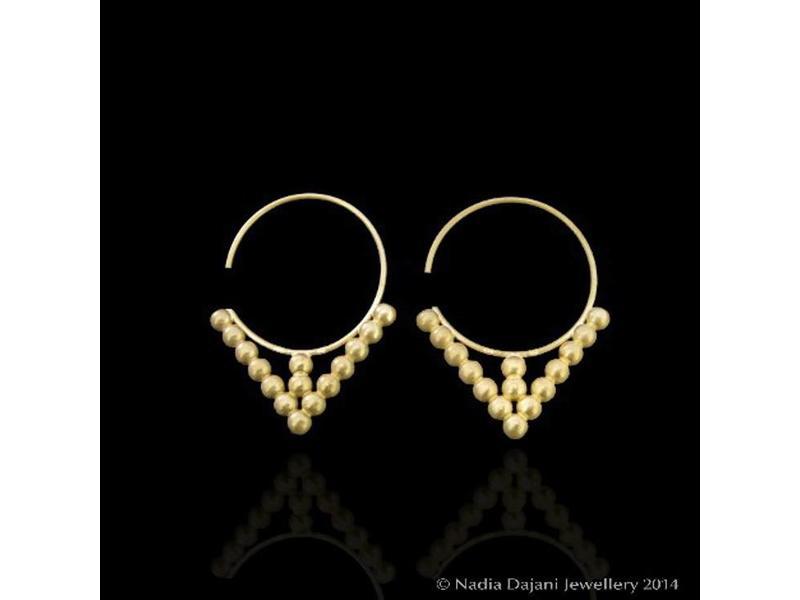 MATT GOLD HOOP EARRINGS WITH GOLD BEADS