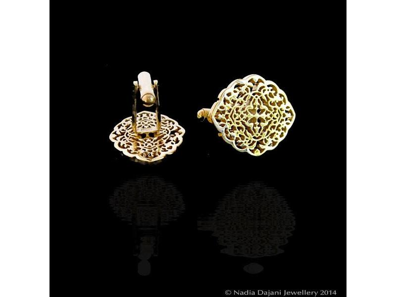 OVAL ARABESQUE CUFFLINKS SILVER GOLD PLATED