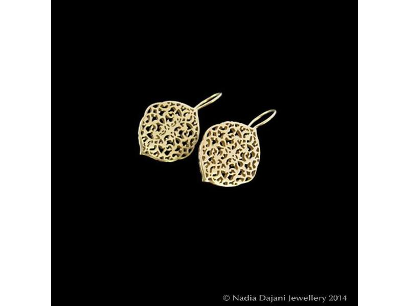 ARABESQUE OVAL EARRINGS WITH ATTACHED HOOK