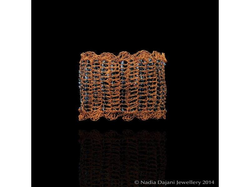 COPPER KNIT BRACELET WITH GLASS BEADS