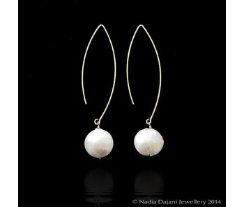 LARGE HOOP, LARGE PEARL DROP EARRINGS