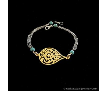ARABESQUE TWO TONE BRACELET WITH CHAINS
