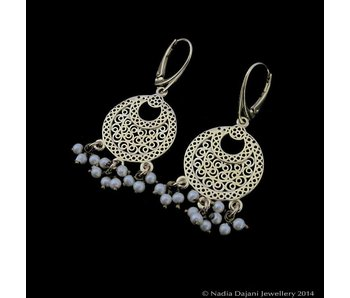 CRESCENT EARRINGS WITH SMALL STONES