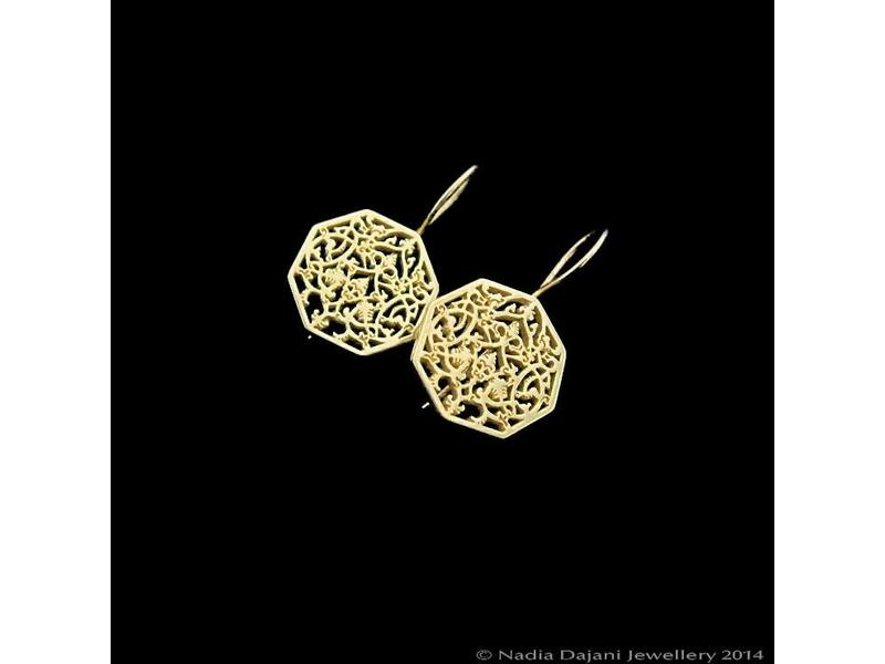 OCTAGON EARRINGS SILVER GOLD PLATED