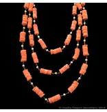 3-ROW CORAL AND PEARL NECKLACE