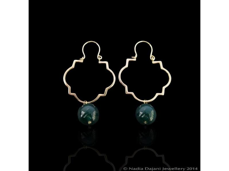 GEOMETRIC OUTLINE EARRINGS WITH STONE DROP