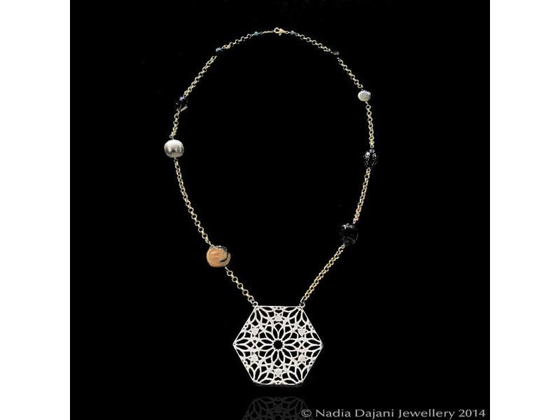 HEXAGON NECKLACE ON GP CHAIN WITH STONES
