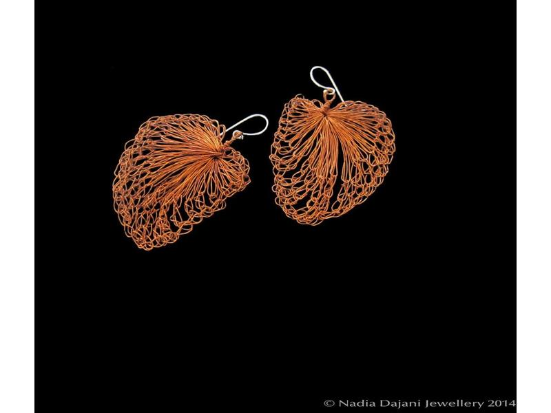 COPPER LEAF EARRINGS- LARGE