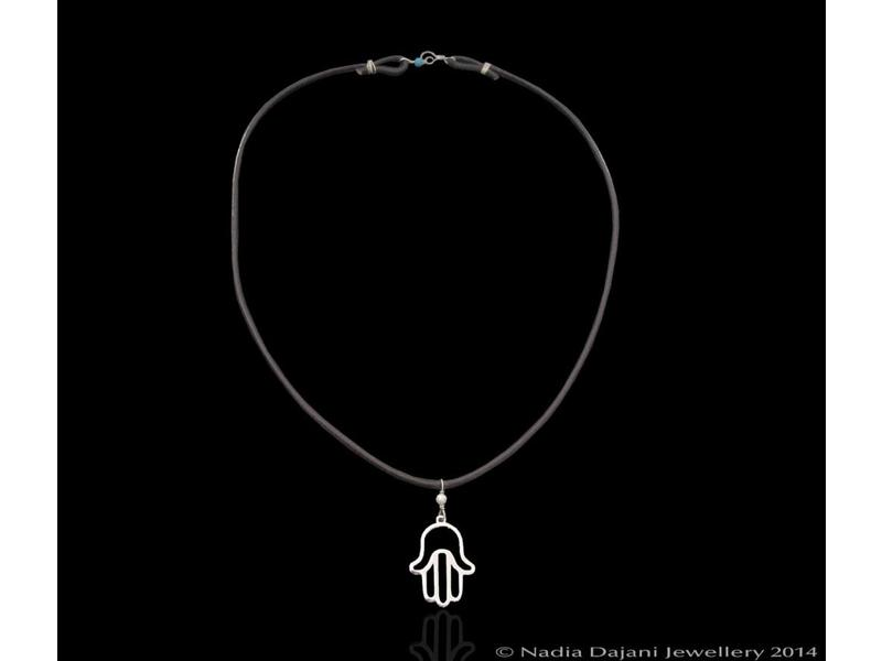 LEATHER NECKLACE WITH HAND OF FATIMA SILVER