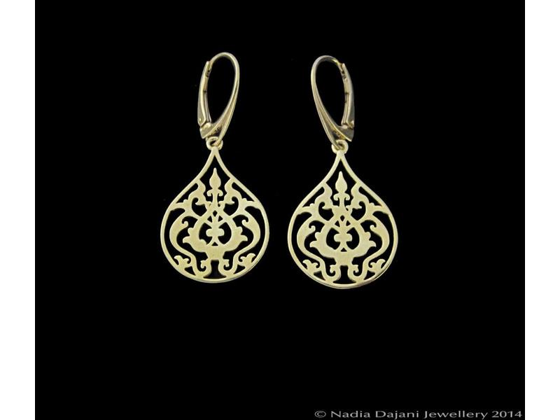 3.5cm SLV GP ARABESQUE EARRINGS, FRENCH CLASP