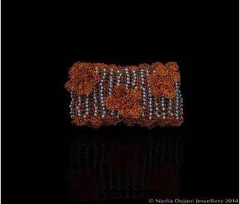 BEADED CUFF W COPPER FLOWERS
