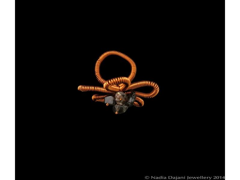 COPPER FLOWER RING WITH STONE
