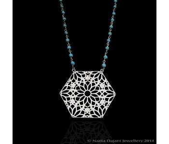 HEXAGON NECKLACE WITH SMALL STONES