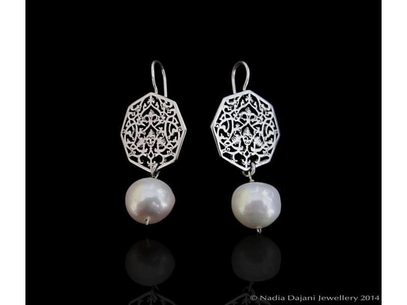 SILVER OCTAGON EARRINGS WITH DROP STONE