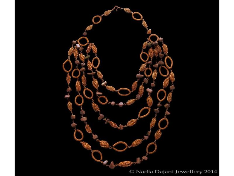 5-ROW COPPER NECKLACE WITH HOOPS AND BEADS
