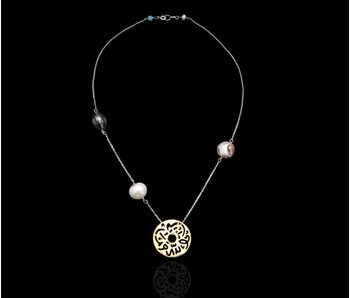 CHAIN NECKLACE WITH STONES, DISC SLV GP