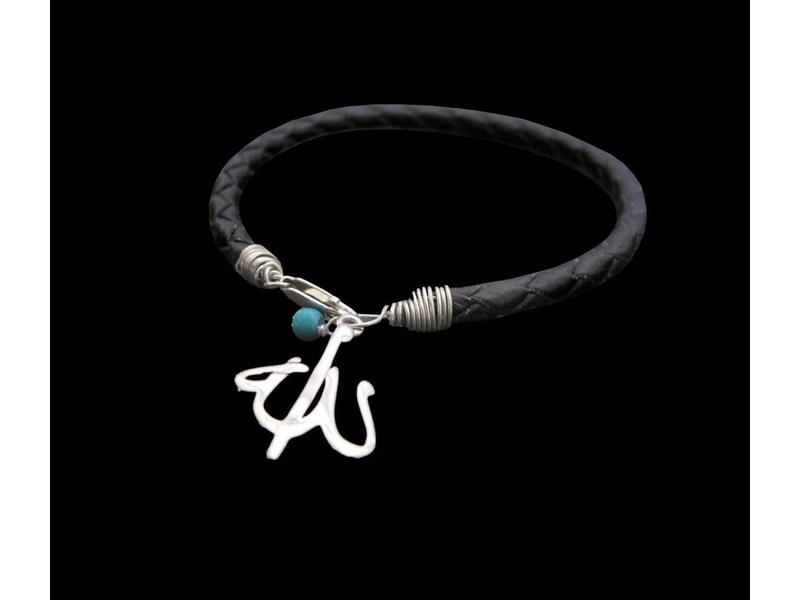 BRAIDED LEATHER BRACELET WITH ALLAH AND TURQUOISE STONE