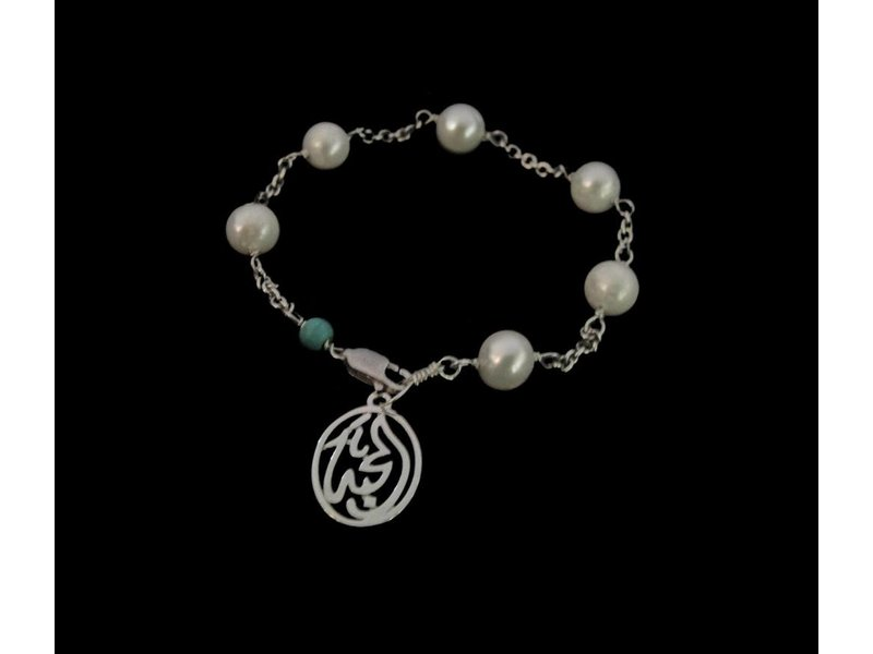 CHAIN AND PEARL BRACELET WITH LOVE